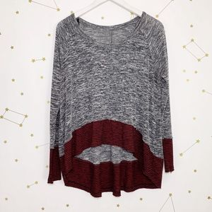 Free People • Gray Striped Hem Swing Top Pullover